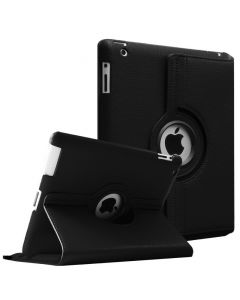 360 Degree Rotating PU Leather Case Smart Cover Stand for Apple iPad (2 / 3 / 4) - Black