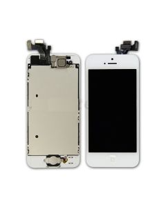 iPhone 5 LCD Assembly With Touch Screen And Other Parts (Digitizer Frame + Home Button + Flex + Earpiece) - White