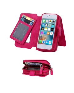 iPhone 7 Plus 5.5 Deluxe Luxury Zipper Wallet Case With Removal Magnetic Phone Case - Pink