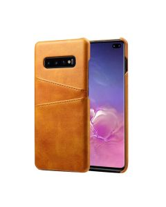 Premium PU Leather Card Slot Protective Back Cover Case Compatible With Samsung Galaxy S10 - Khaki