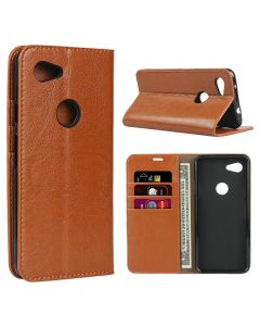 Stylish PU Leather Wallet Card Holder Flip Smart Phone Case Cover For Google Pixel 3a - Light Brown
