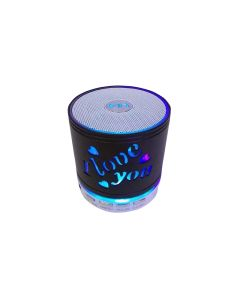 Colorful Flash Love You Wireless Music Mini Wireless Speaker Subwoofer Udisk FM - Black