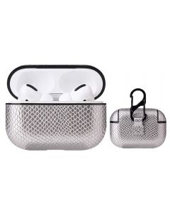 Premium Snake Skin Design PU Leather Dust Shockproof Protective Case Cover For Airpods Pro / AirPods 3 Charging Case - Silver