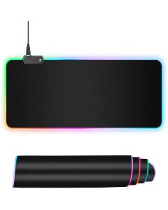 RGB Luminous Gaming Mouse Pad Colorful Glowing USB LED Illuminated PU Non Slip Blanket Mat Mouse Pad (300X780X3mm) - Extended Size