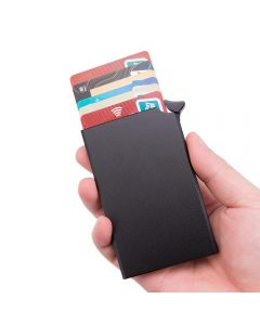 RFID Anti Theft Smart Wallet Thin ID Card Holder Solid Metal Bank Credit Debit Card Holder Wallet - Black