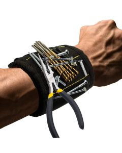 Magnetic Wristband Electrician Wrist Belt Portable Tool Bag With 3 Magnets For Power Tools Screws Nails Drill Bits Repair Tools - Black