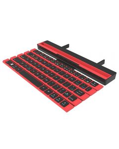 Folding Rollable Portable Bluetooth Keyboard 64 Keys Wireless Keypad With Stand Holder For iPad Tablet Phones PC - Red