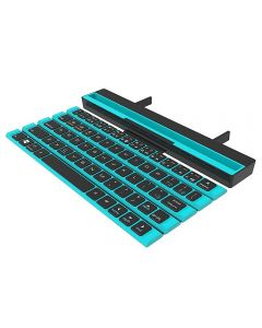 Folding Rollable Portable Bluetooth Keyboard 64 Keys Wireless Keypad With Stand Holder For iPad Tablet Phones PC - Blue