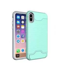 Brushed TPU 2 Layer Protection Hidden Card Storage Kickstand Back Cover Phone Case For Apple iPhone X / iPhone XS - Mint