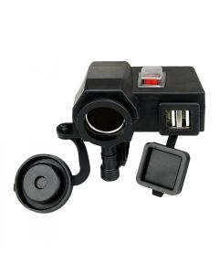 Waterproof 5V/2.1A Dual USB Output Motorcycle Handlebar Clamp Power Adapter Charger USB With DC 12V Car Lighter Socket