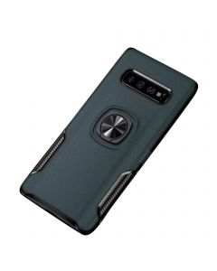 Ring Grip Bracket Magnetic Adsorption Back Cover Protective Case Compatible With Samsung Galaxy S10 Plus - Navy Blue