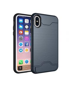 Brushed TPU 2 Layer Protection Hidden Card Storage Kickstand Back Cover Phone Case For Apple iPhone XS Max - Navy Blue