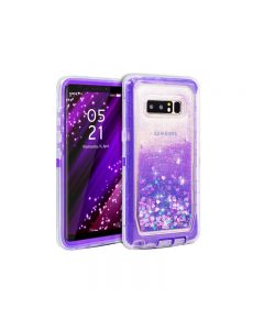 Anti Drop Shockproof 3D Bling Glitter Liquid Clear Dual Layer Quicksand Back Shell Case For Galaxy Note 8 - Purple