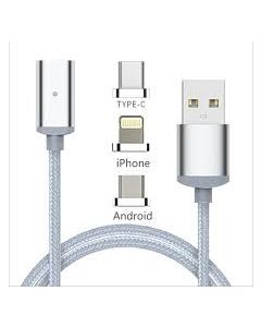 3 in 1 Magnetic Cable Micro USB + 8 Pin + Type C Fast Connect USB Cable - Silver