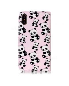Panda Pattern PU Leather Full Cover Wallet Case For iPhone XS Max