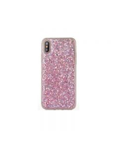 iPhone XS Max Sheer Crystal Twinkling Glass Crystal Fashionable Phone Case - Pink