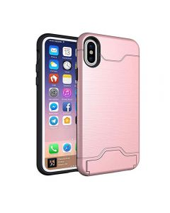 Brushed TPU 2 Layer Protection Hidden Card Storage Kickstand Back Cover Phone Case For Apple iPhone XS Max - Pink