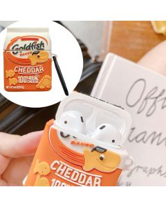 Cheese Crackers Premium Shockproof Case Cover 3D Silicone Design Case Cover + Keychain For AirPods 1 / 2 Case