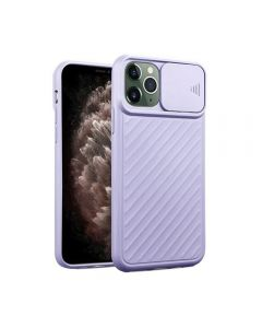 Sliding Camera Lens Protection Soft TPU Silicone Back Cover Shockproof Phone Case For iPhone 11 Pro - Purple