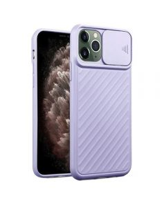 Sliding Camera Lens Protection Soft TPU Silicone Back Cover Shockproof Phone Case For iPhone 11 Pro Max - Purple