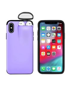 Unified Protection Silicone Gel Rubber 2 in 1 AirPods Phone Cover Case For Apple iPhone X/XS (AirPods 1/2 Only) - Purple