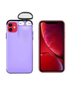 Unified Protection Silicone Gel Rubber 2 in 1 AirPods Protective Phone Cover Case For Apple iPhone 11 - Purple