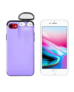 Unified Protection Silicone Gel Rubber 2 in 1 AirPods Protective Phone Cover Case For Apple iPhone 7 / iPhone 8 - Purple
