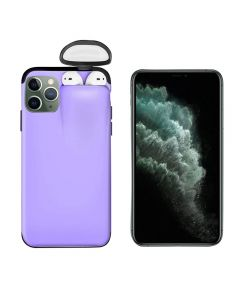 Unified Protection Silicone Gel Rubber 2 in 1 AirPods Protective Phone Cover Case For Apple iPhone 11 Pro - Purple