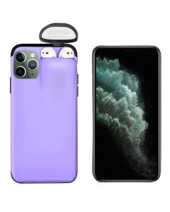 Unified Protection Silicone Gel Rubber 2 in 1 AirPods Protective Phone Cover Case For Apple iPhone 11 Pro Max - Purple