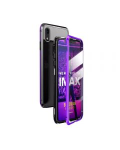 360º Magnetic Metal Frame Tempered Glass Back Magnet Phone Cover Case For Apple iPhone XR - Purple