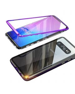 Stylish Luxury Magnetic Metal Case Compatible With Samsung Galaxy S10 Plus - Purple