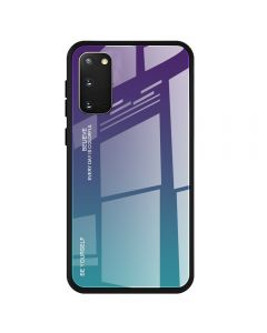 Stylish Slim Gradient Tempered Glass Phone Back Cover Case For Samsung Galaxy S20 5G - Purple/Blue