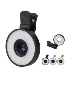 Flash LED Light 6 In 1 Clip Fish Eye Lens Macro Wide Angle Selfie Lens for Smartphones and Tablets