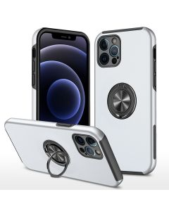 Shockproof 360 Magnetic Protective Case With Ring Holder For Apple iPhone 13 Pro - White