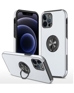 Shockproof 360 Magnetic Protective Case With Ring Holder For Apple iPhone 13 Pro Max - White