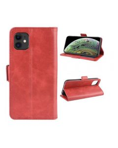 PU Leather Wallet Stand Phone Case Cover Shell For Apple iPhone 11 6.1'' - Red
