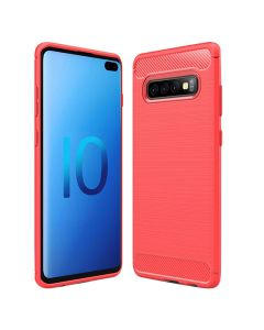 Soft Silicone Bumper Shockproof Carbon Fiber Protective Case Compatible With Samsung Galaxy S10 - Red