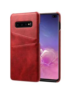 Premium PU Leather Card Slot Protective Back Cover Case Compatible With Samsung Galaxy S10 Plus - Red