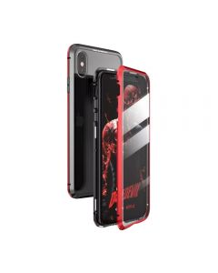 360º Magnetic Metal Frame Tempered Glass Back Magnet Phone Cover Case For Apple iPhone XS Max - Red
