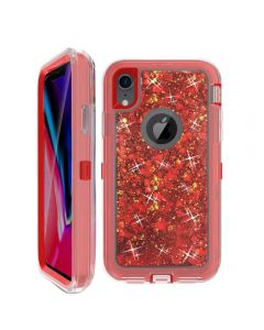 Dynamic Glitter Liquid Armor Case Defender Quicksand Hybrid Cover Phone Case For Apple iPhone XR - Red