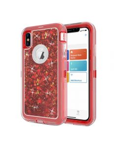 Dynamic Glitter Liquid Armor Case Defender Quicksand Hybrid Cover Phone Case For Apple iPhone X / iPhone XS - Red