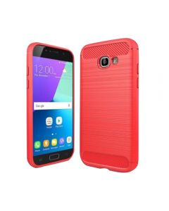 Hybrid Super Armor Carbon Fiber Texture Brushed Soft Tpu Silicone Case Cover For Samsung Galaxy A5 (2017) A520 - Red
