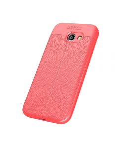 Auto Focus Embossed Back Cover Solid Colored Soft TPU Case Cover For Samsung Galaxy A5 (2017) A520 - Red
