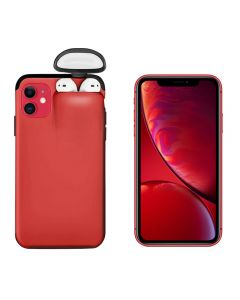 Unified Protection Silicone Gel Rubber 2 in 1 AirPods Protective Phone Cover Case For Apple iPhone 11 - Red