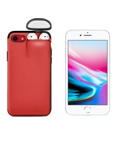 Unified Protection Silicone Gel Rubber 2 in 1 AirPods Protective Phone Cover Case For Apple iPhone 7 / iPhone 8 - Red