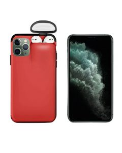 Unified Protection Silicone Gel Rubber 2 in 1 AirPods Protective Phone Cover Case For Apple iPhone 11 Pro - Red
