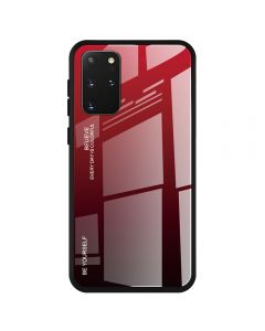 Stylish Slim Gradient Tempered Glass Phone Back Cover Case For Samsung Galaxy S20+ Plus 5G - Red