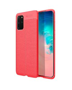 Soft TPU Auto Focus Silicone Texture PU Leather Slim Anti Scratch Phone Back Case For Samsung Galaxy S20+ Plus 5G - Red