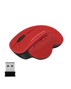 Ergonomic 2.4Ghz Wireless Mouse Upto 1600 DPI Computer PC Optical Mouse With USB Receiver - Red