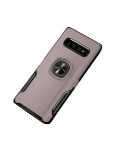 Ring Grip Bracket Magnetic Adsorption Back Cover Protective Case Compatible With Samsung Galaxy S10E - Rose Gold